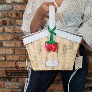 Kate Spade STRAWBERRY Wicker Basket Cream Red BAG